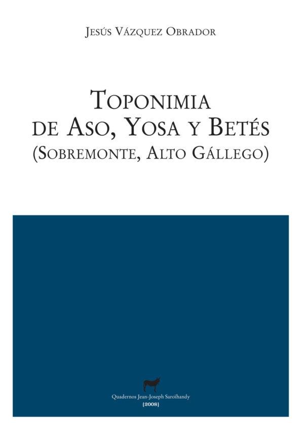 """Portada libro: """"Toponimia de Aso, Yosa y Betés (Sobremonte)"""""""