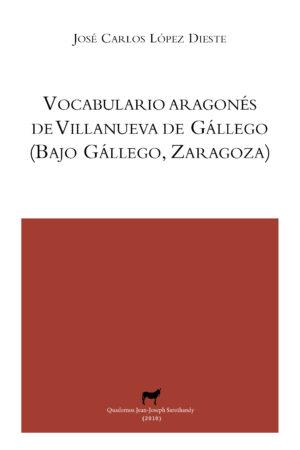 """Portada libro: """"Vocabulario aragonés de Villanueva de Gállego"""""""